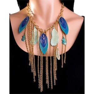 Fashion Peacock Feathers Fringed Necklace